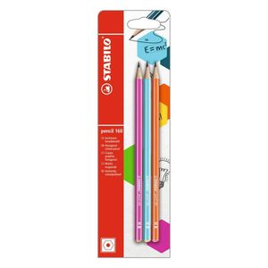 STABILO - lot de 3 crayons graphite pencil 160 HB - rose + bleu clair + orange