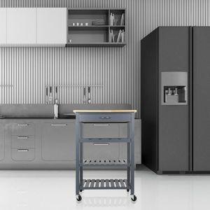 DESSERTE - BILLOT @Bonachat chariot de cuisine gris avec 1 tiroirs 3