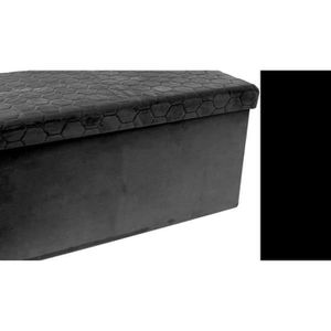 BANC Coffre banc pliable velours noir assise relief -
