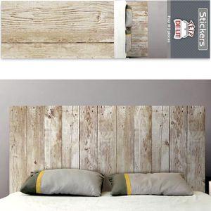 STICKERS Autocollant mural tête de lit planches de bois