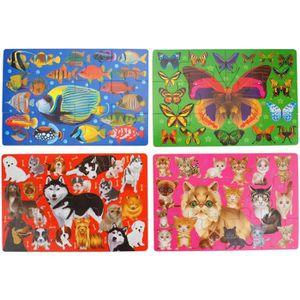 PUZZLE Coffret 4 Puzzle Bois 12pcs Les Animaux et leur es