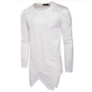 T-SHIRT Tee Shirt Homme Houppe T Shirt Manche Longue Stree
