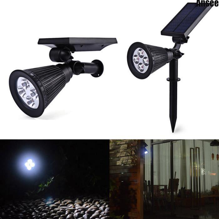 4 Spotlight solaire LED Outdoor Landscape Lighting Wall Light 180 degrés de puissance de panneau solaire réglable étanche
