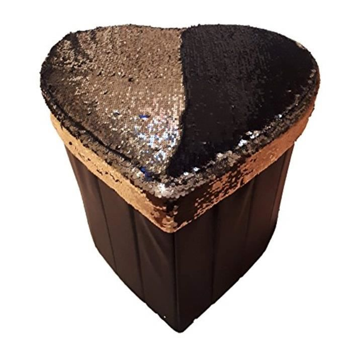 Coffret Multi-Jeux GWABG Rangement pliant Siège Ottoman, Tabouret, Jouet Boîte de rangement en faux cuir (sirène Sequin coeur noir