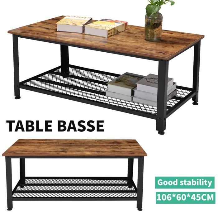 Table Basse Industrielle Table de Salon Style Vintage, Industriel, Veinure du MDF et Armature de Métal -106*60*45CM HB017