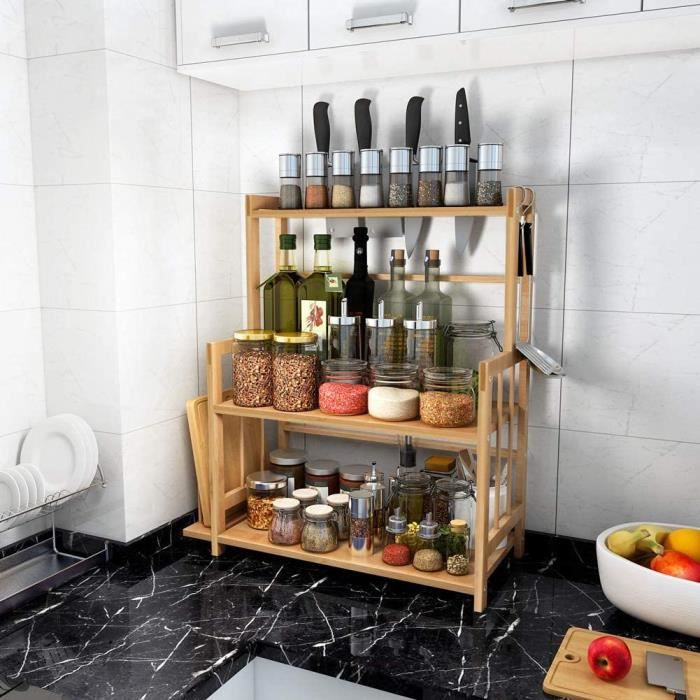 Support à épices en bambou Étagère porte-bouteilles debout à 3 niveaux avec planche à découper et porte-couteau -UK