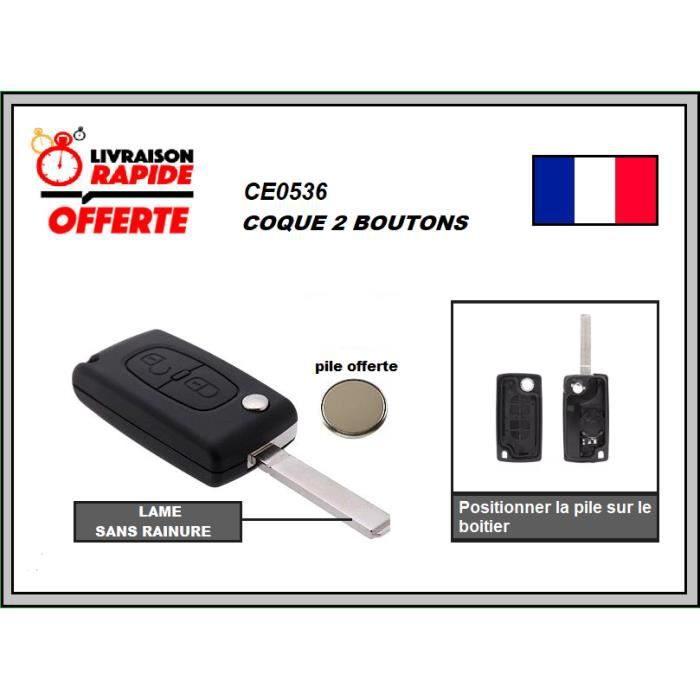 coque de clé pliable pour Peugeot Citroen ref 0536
