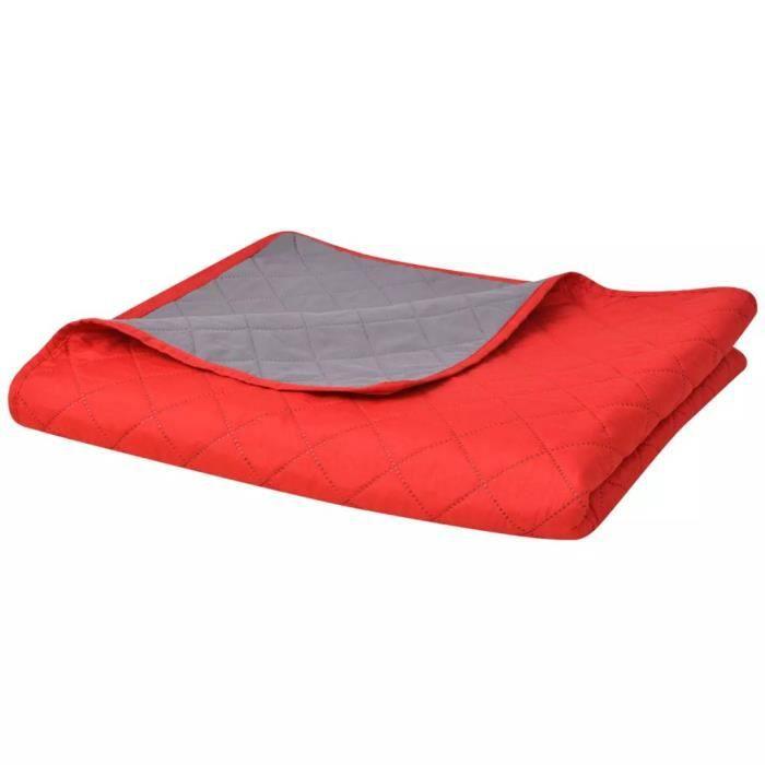 Couvre-lit double face matelassé Rouge et gris 230 x 260 cm -ABI