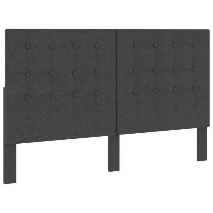 🐻8662Magnifique Confort - Tête de lit touffetée Gris foncé Tissu 160x200 cm