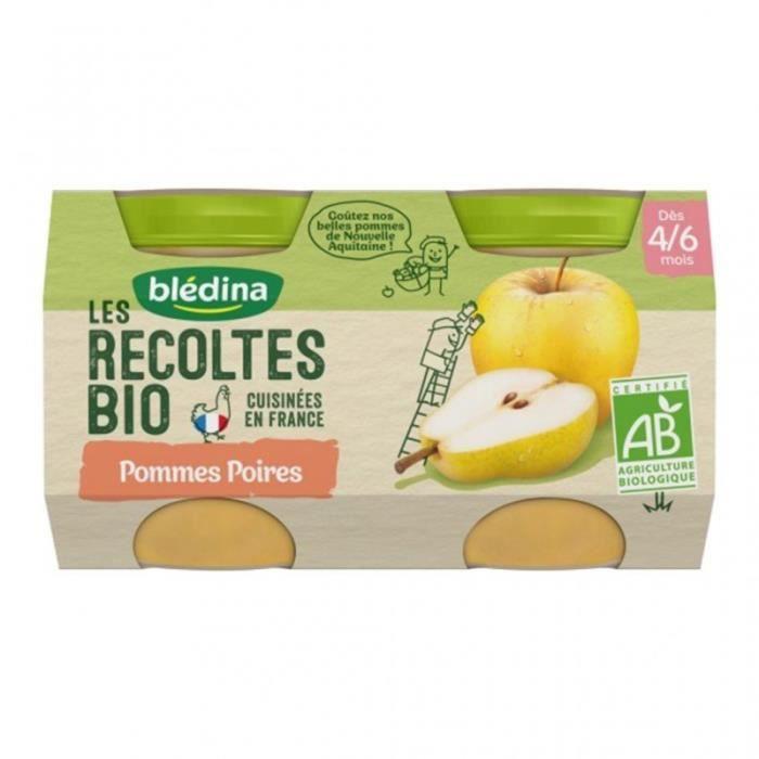 Blédina Les Récoltes Bio Pommes Poires (dès 4/6 mois) par 2 pots de 130g (lot de 8)