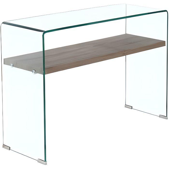 Console en verre trempé étagère en bois décor chêne - ICE