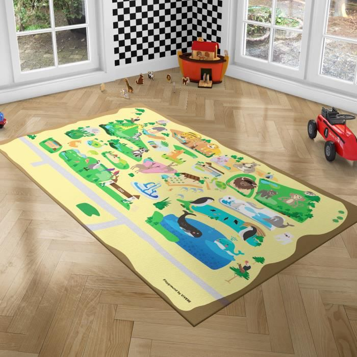 PLAYGROUND Tapis de Jeux pour Enfants - Tapis de Chambre - Zoo - 100x150 cm