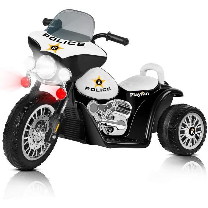 NEGRA BLACK-Motocyclette Électrique de la Police Tricycle Rechargeable 6V +2 ans Jouets Voitures à Batterie pour Enfants[7]