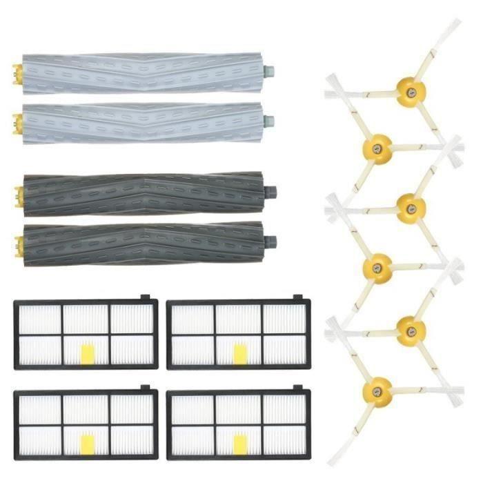 6 Brosses Latérales + 4 Filtres HEPA +2 Brosses Extracteur de Débris Aspirateur Kit d'Accessoires pour iRobot Roomba Séries 800