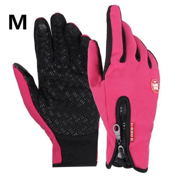 Gants moto vélo imperméable chaud conduire gants pour hommes et femmes rose M Hot45808