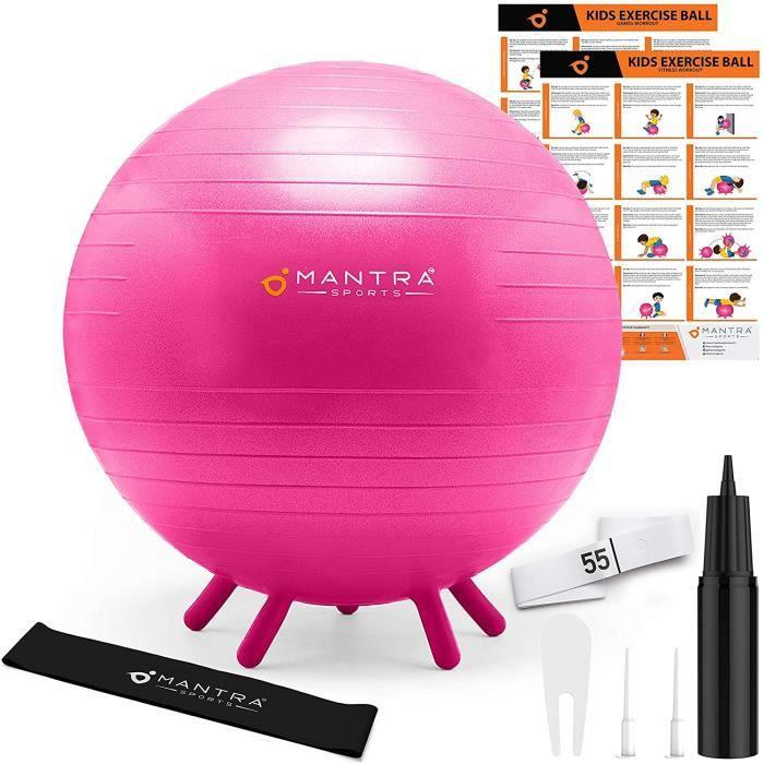 Swiss Ball - Ballon Fitness - Chaise Ballon Pilates & Yoga - 45 cm / 55 cm Assise pour Bureau, Gym, Maison & Salle de Classe - Ballo