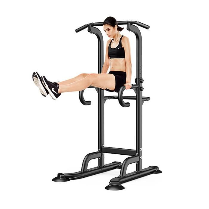 Barre de Traction Ajustable Station Musculation Dips Station Chaise Romaine- Pull Up Bar