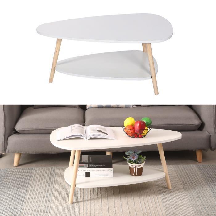 HUGUANGh®Table basse blanche ovale à 2 étagères avec pieds en bois