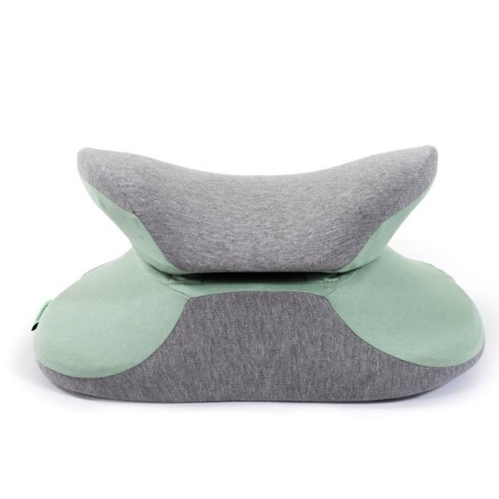 Coussin lombaire convertible en Coussin de sieste bureau ergonomique en mousse à mémoire de forme pliable pour les élèves- vert