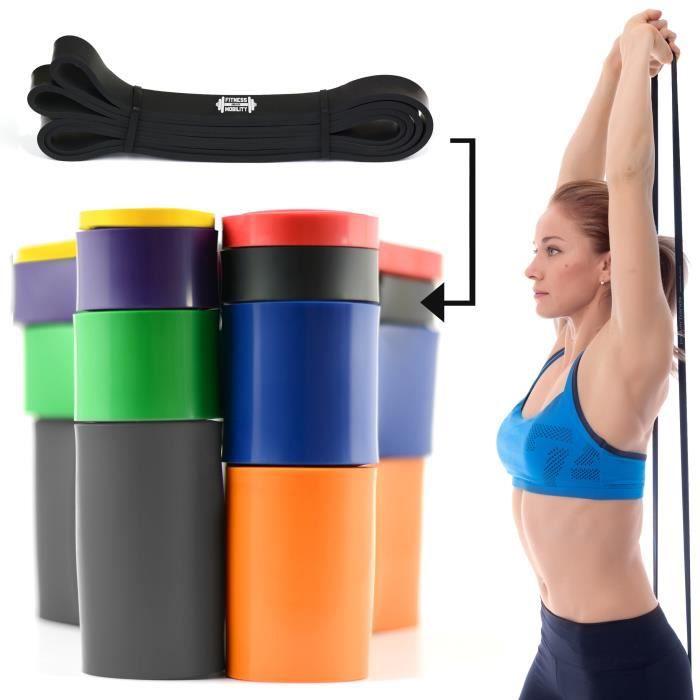 CKB LTD® 1x Fitness 35-70lb Resistance 2.1 cm NOIR Bande De Résistance Bande Elastique Pour Yoga Pilate Musculation Gymnastique
