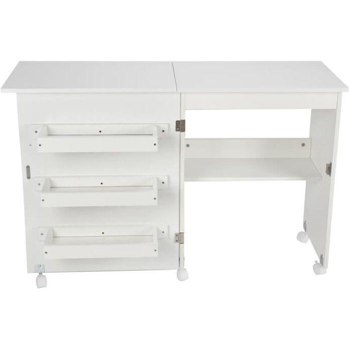 Dioche Table de machine à coudre pliante Bureau de table d'ordinateur de machine à coudre pliante avec 3 étagères de rangement