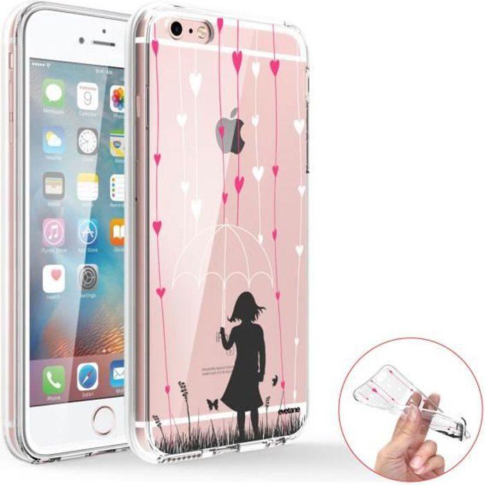 Coque 360 iPhone 6 iPhone 6S 360 intégrale transparente Pluie de coeurs Ecriture Tendance Design Evetane