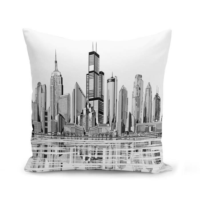 Housse de Coussin 40x40 cm Etats Unis Grattes Ciel New York Los Angeles Dessin Skyline