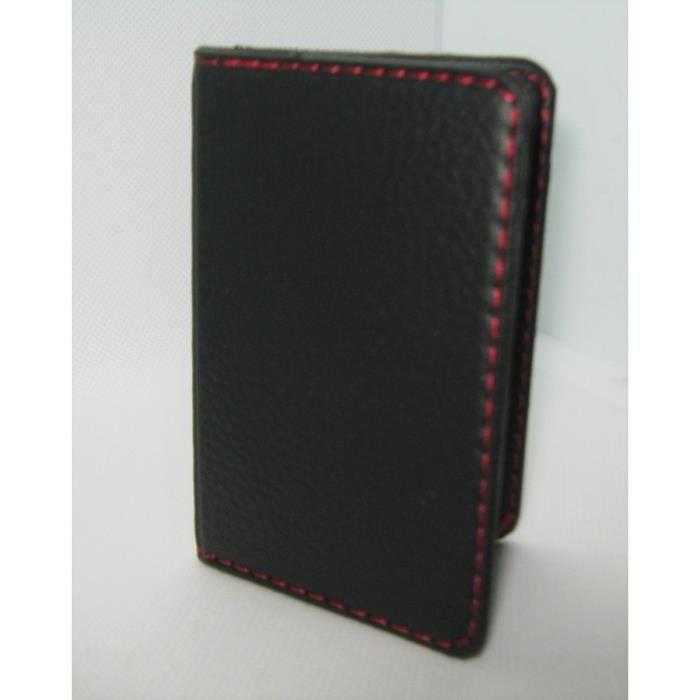 Protège-CB Simili cuir 2 cartes Noir surpiqûre rouge + Barrière RFID