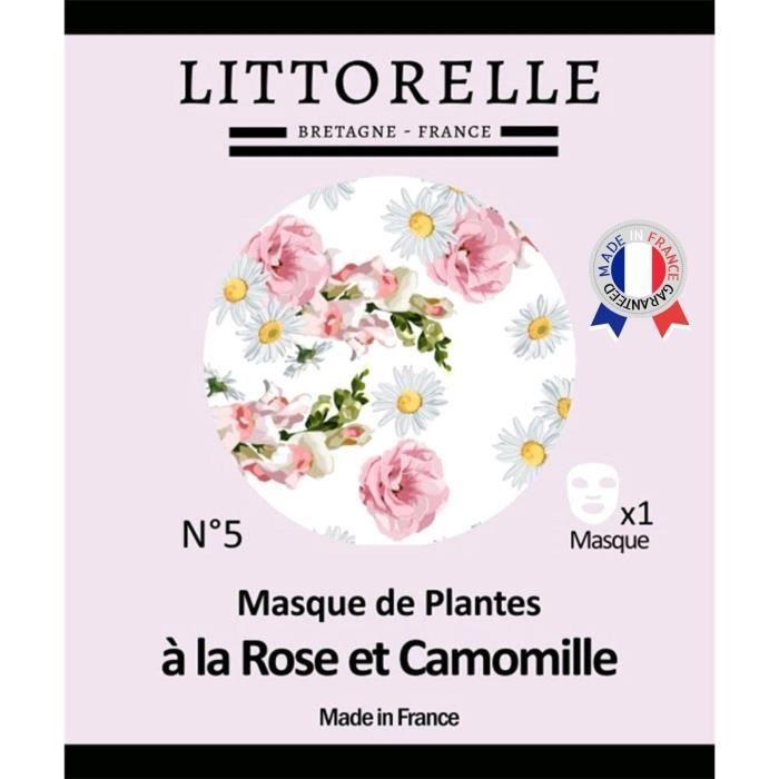 Masque Floral Visage Rose et Camomille – Made in France – Adoucit, Tonifie et Protège la Peau – Action Anti-âge – Peaux Sensibles