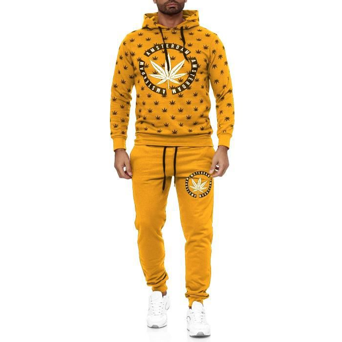 Men's Tracksuit Two Piece Set Weed Jogging Suit Chill Dope Pattern