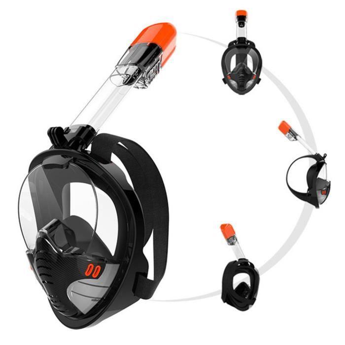 PRUMYA Masque de snorkeling sec complet-L/XL-noir
