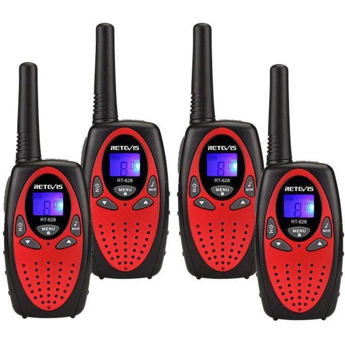 Retevis RT628 Talkie Walkie Enfant PMR446 8 Canaux VOX Volume Ajustable Talkie Walkie Jouet pour Enfant(Rouge,2 Paire)