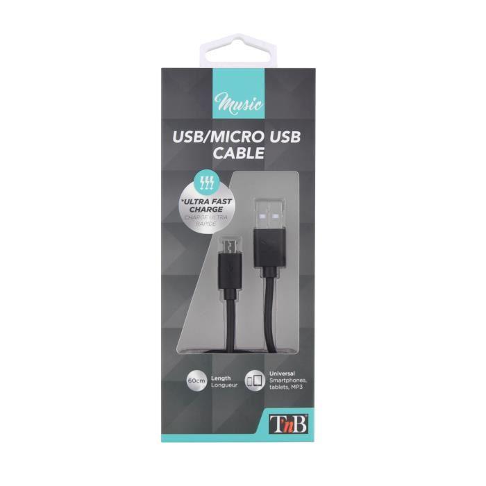 TNB Câble USB micro USB 60cm - Noir