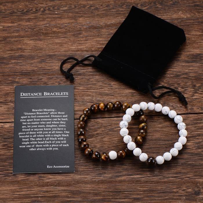white brown bag -Yin Yang – Bracelet de distance pour couple, classique, pierre naturelle, blanc et noir, 2 pièces-ensemble, perlée,