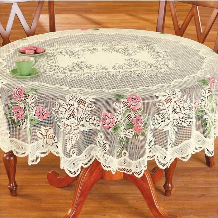 Fait main broderie dentelle rose travail de découpe Nappe Home Table Cover Decor
