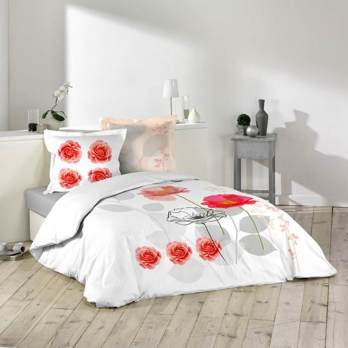 housse de couette 220x240 100 coton fleur de rose rouge 2 taies achat vente housse de. Black Bedroom Furniture Sets. Home Design Ideas