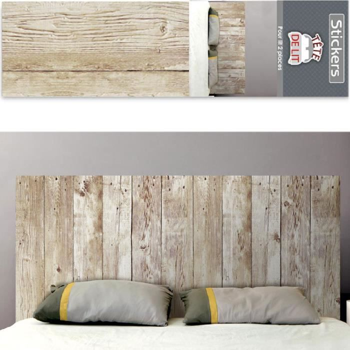 autocollant mural t te de lit planches de bois achat vente stickers cdiscount. Black Bedroom Furniture Sets. Home Design Ideas