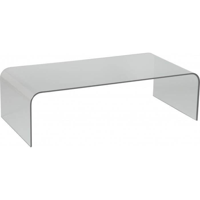 Table Basse Design Rectangulaire Verre Courbé Achat Vente Table