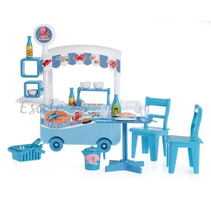 jeux d 39 imitation chariot table chaise aliments jouet cadeau enfant d nette bleu achat vente. Black Bedroom Furniture Sets. Home Design Ideas