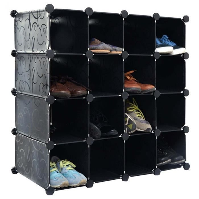 penderie placard rangement 16 paires de cube organisateur. Black Bedroom Furniture Sets. Home Design Ideas
