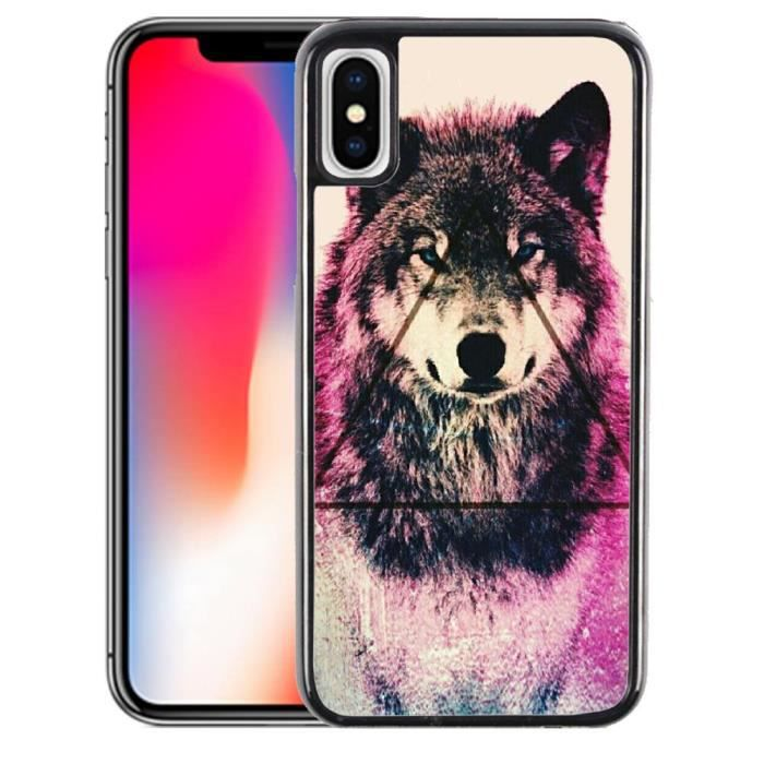 coque iphone x loup triangle