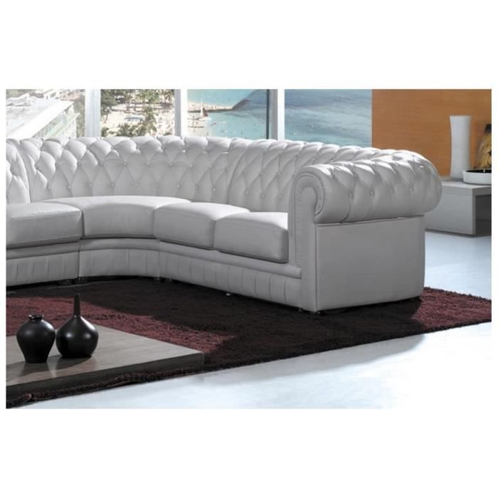Canap d 39 angle chesterfield blanc cuir pvc ga achat for Canape chesterfield cuir occasion