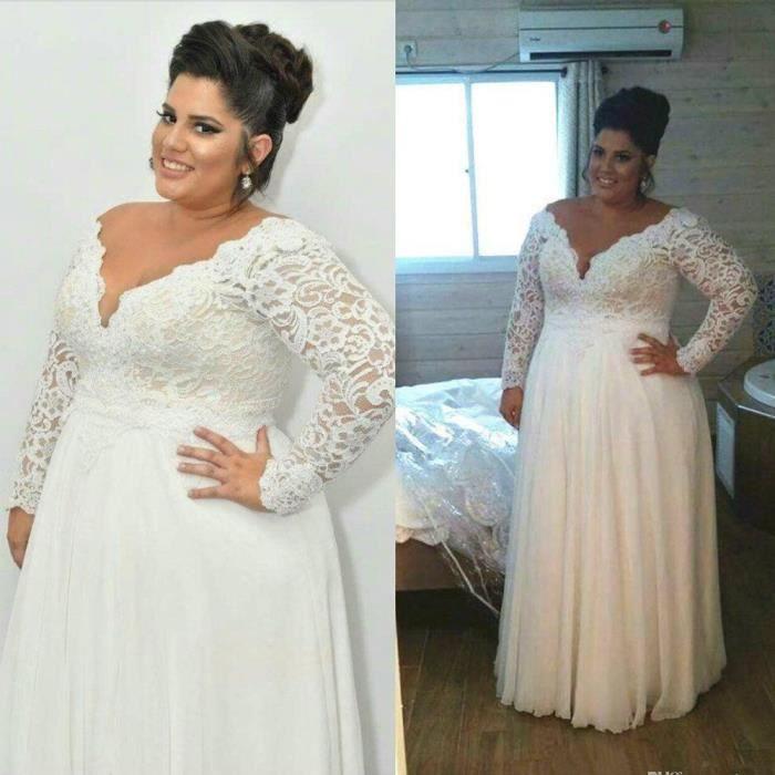 Robe de mariée Grande taille élégante col