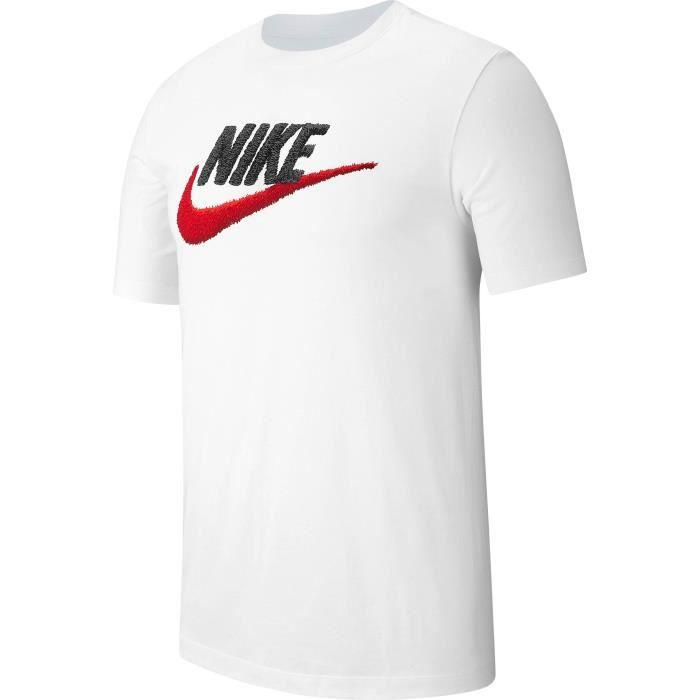 NIKE T Shirt M NSW TEE BRAND MARK Homme Blanc