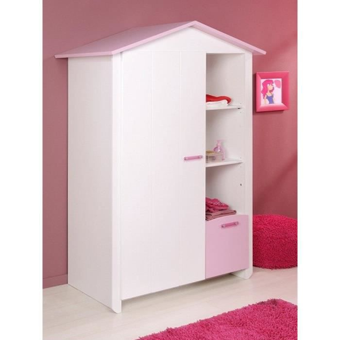 armoire blanche et rose pour chambre fille l 112 x h 181. Black Bedroom Furniture Sets. Home Design Ideas