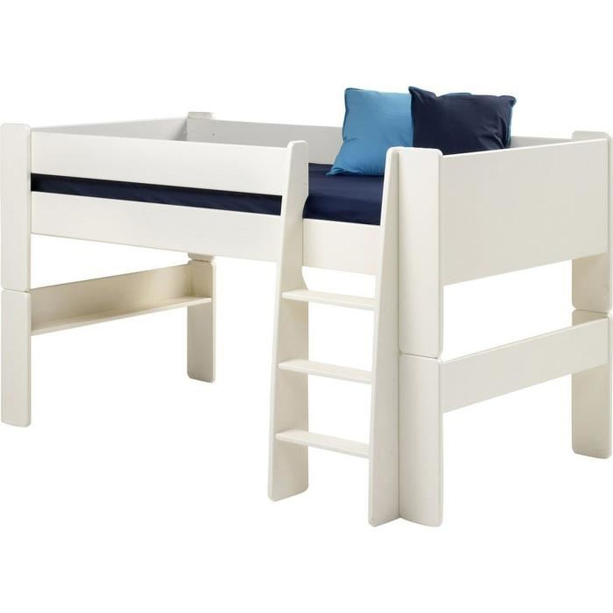 lit mi hauteur pour enfant en mdf bois verni blanc dim. Black Bedroom Furniture Sets. Home Design Ideas