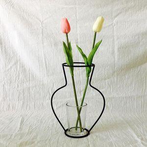 VASE - SOLIFLORE New Nordic Minimalist Abstract Vase Black Iron Bri
