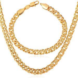 CHAINE DE COU SEULE femmes Hommes Collier + bracelet 18k jaune plaqué