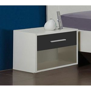 CHEVET Lot de 2 tables de chevets coloris blanc - Dim : 4