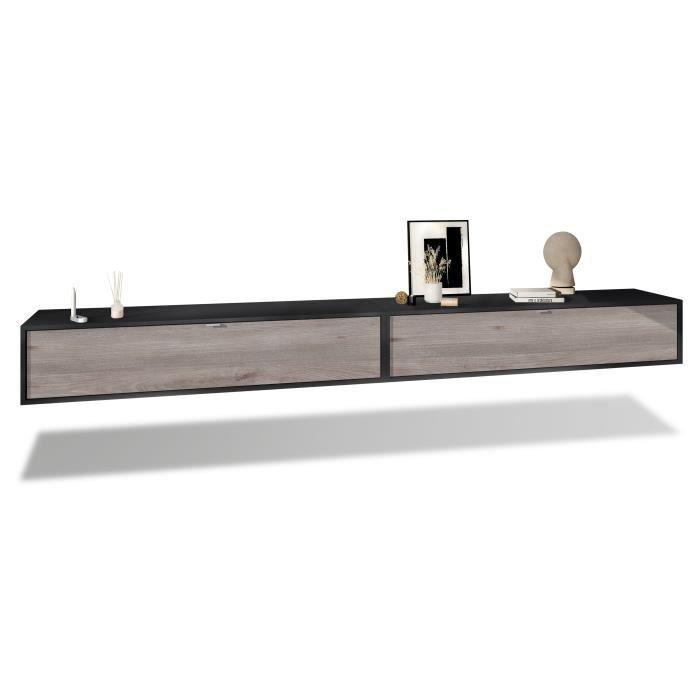 Ensemble de 2 set meuble TV Lana 140 armoire murale lowboard 140 x 29 x 37 cm, caisson en Noir mat, façades en Chêne Nordique